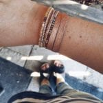 Bransoletka srebrna z koralikami - różowa i złota
