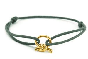 Bransoletka sznurkowa srebrna z zawieszką do bransoletki